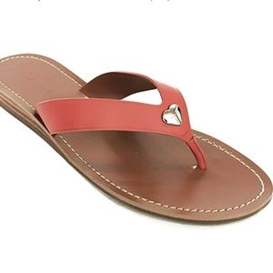 Coach Women's Ellis Thong Sandal Orange Leather 5B